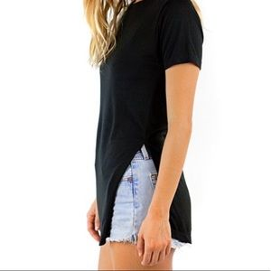 Forever 21 Black T-Shirt with Side Slit